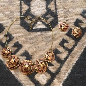 Antique bronze Necklace and earring set